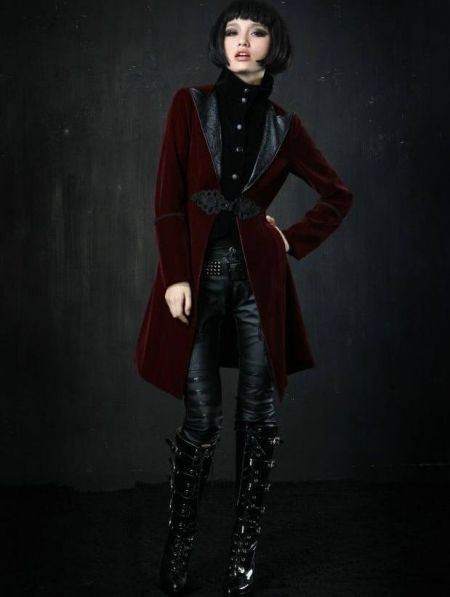 Red Velvet Gothic Chinese Style Trench Coat for Women and Men by DevilNight