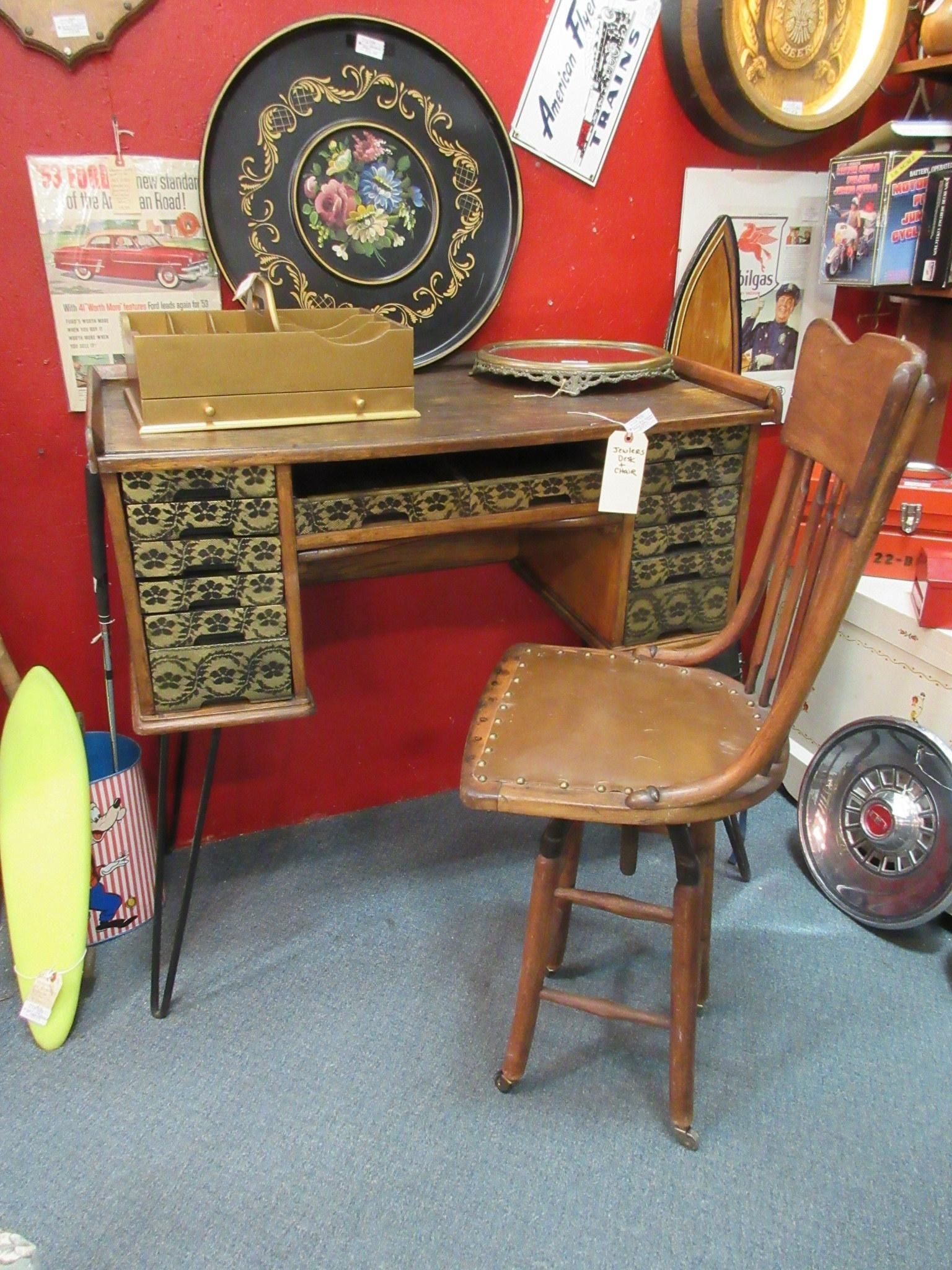 Antique Jeweler's desk and chair. From Vendor 806 in booth 2. Priced at  299.00. ~ The Brass Armadillo Antique Mall in Denver, CO. 303-403-1677 ~ - Antique Jeweler's Desk And Chair. From Vendor 806 In Booth 2. Priced