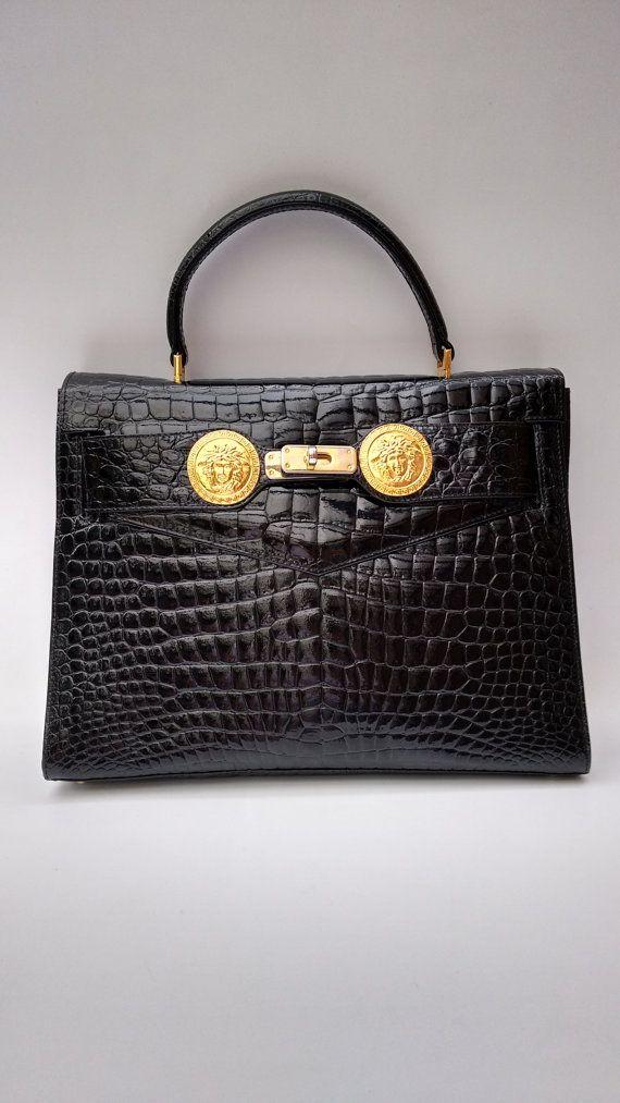 b83b7bf329ac VERSACE Gianni Versace Vintage Crocodile Embossed Patent Leather ...