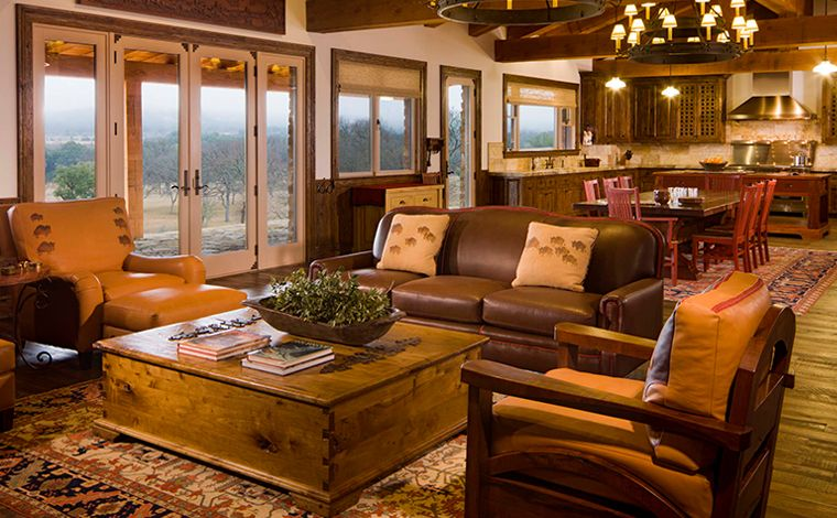 Texas Hill Country House FireplCES | Living Room With American Bison  Upholstered Pieces