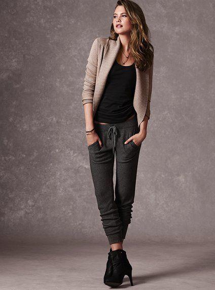 24797ebc4f1ae Shawl-collar Cardigan Sweater and Modern Sweatpant - Victoria's ...