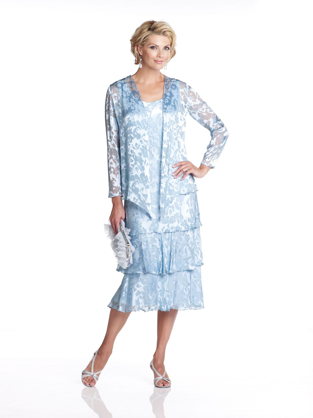 Cameron blake capri pale blue tiered dress and jacket sizes to
