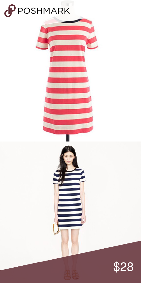 "New J Crew Rugby Striped Dress New without tags T-shirt dress. A-line silhouette, cotton jersey, 34 3/4"" from shoulder, back zip, and machine wash. Coral stripes, navy collar. J. Crew Dresses Mini"