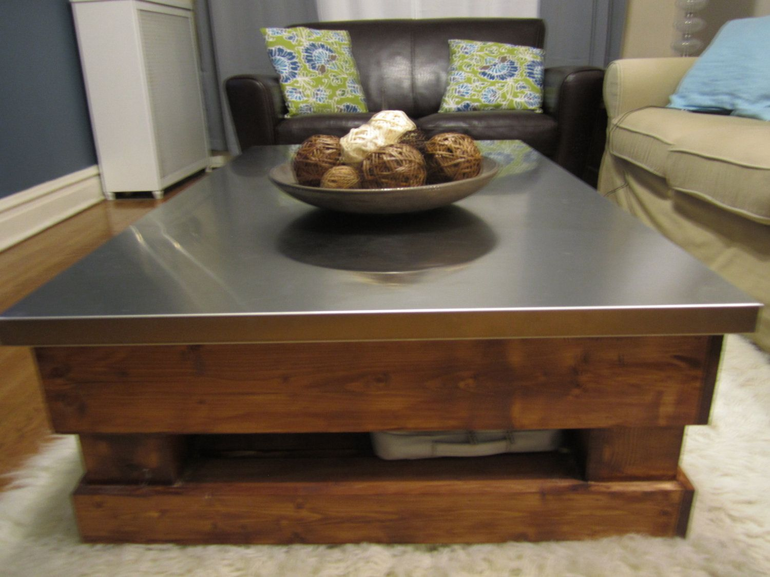 Attractive Custom Coffee Table With Stainless Steel Top. $2,200.00, Via Etsy.