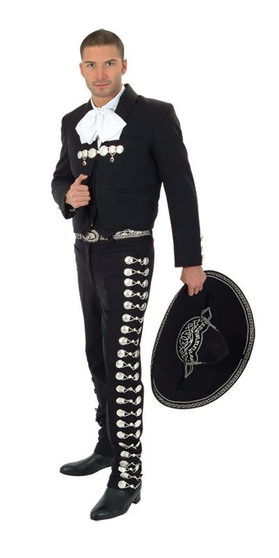 6 Pcs Black Silver Boys Outfit Charro Suit Mariachi Wedding Party Suede Hat New