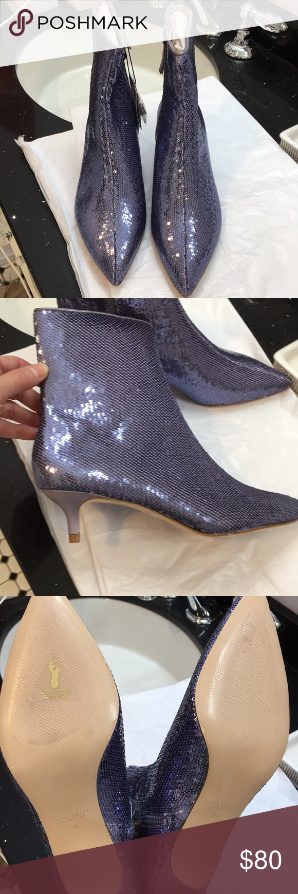 e239b87ae7b NWT Zara Sequin Booties. Small purple sequins. Pointy toe. Inside ...