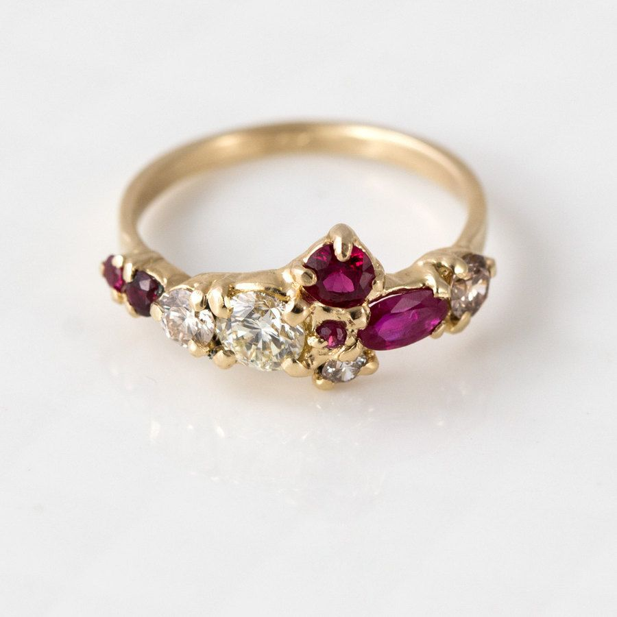 Red ruby and champagne diamond cluster ring in gold de arte