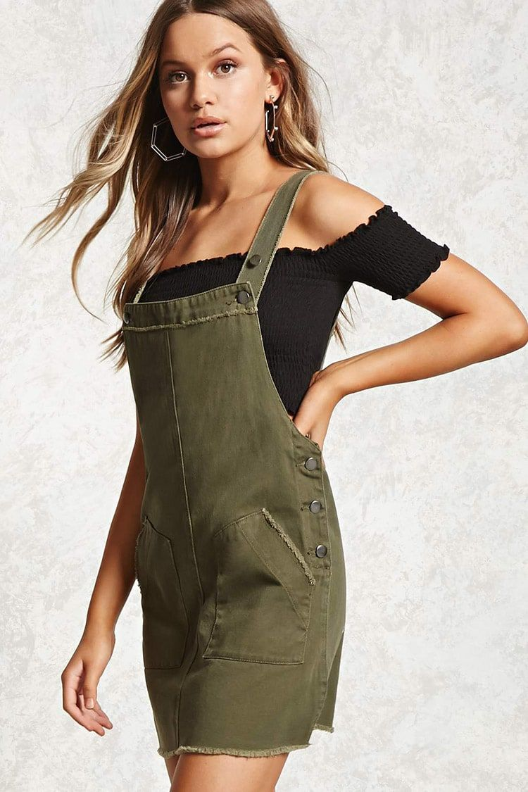 3d18e84ffb Frayed Overall Dress Olive Dress