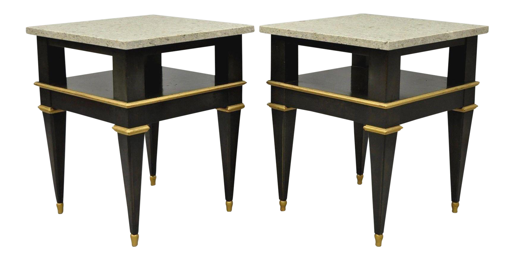 Pair French Louis Xvi Jansen Style Marble Top Wood Side End Tables