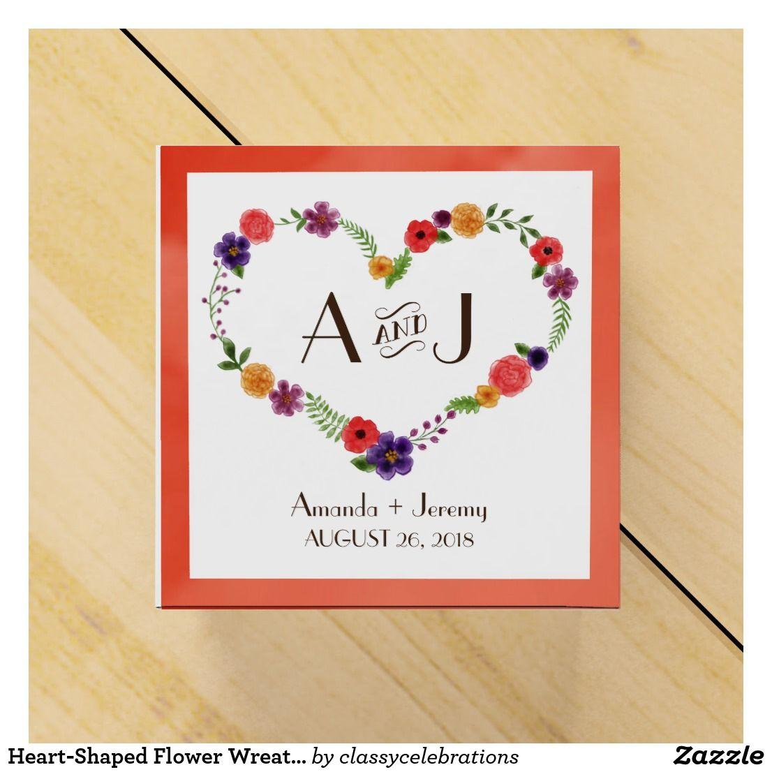 Heart-Shaped Flower Wreath Rustic Wedding Favor Box | Rustic wedding ...