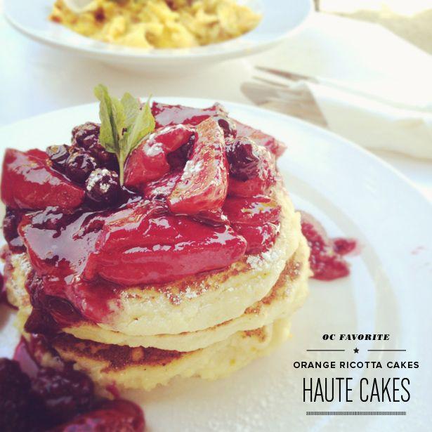 orange ricotta pancakes Haute Cakes Caffe in Newport Beach