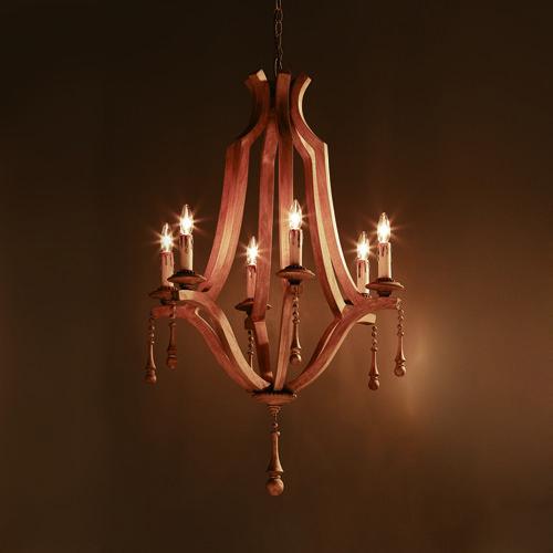 ウッドシャンデリア 6灯 要電気工事 Wood Chandelier 6 Lamp 12193 リグナセレクションのライト 照明 おしゃれ家具 インテリア通販のリグナ シャンデリア 天井照明 光