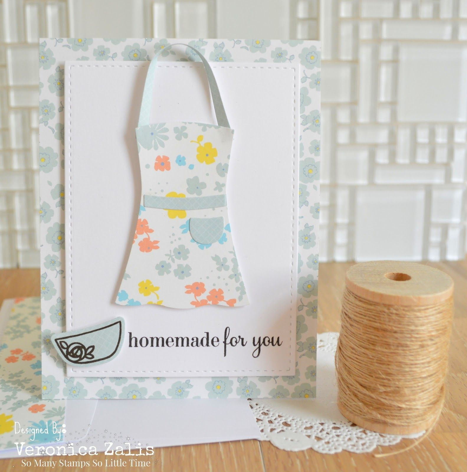 Card by PS GDT Veronica Zalis using PS Apron die, Recipe for Success, Kitschy Kitchen
