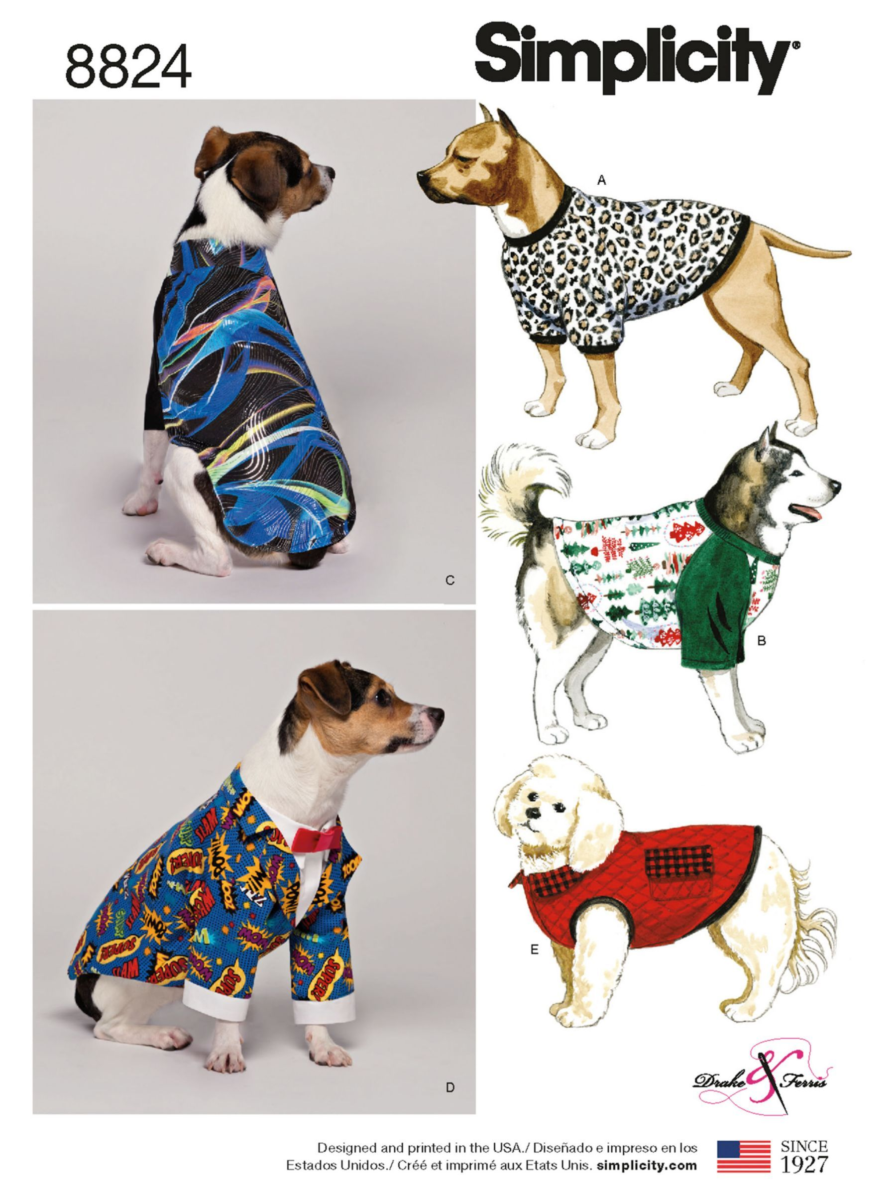 Simplicity Dog Coat Sewing Pattern 8824 Coat Pattern Sewing