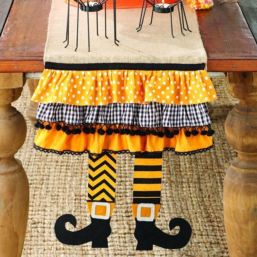 Mud Pie Halloween Witch Burlap Table Runner BUY.