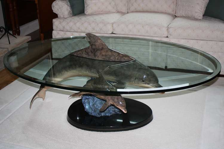 Attractive Dolphin Glass Table In Living Room By Wyland