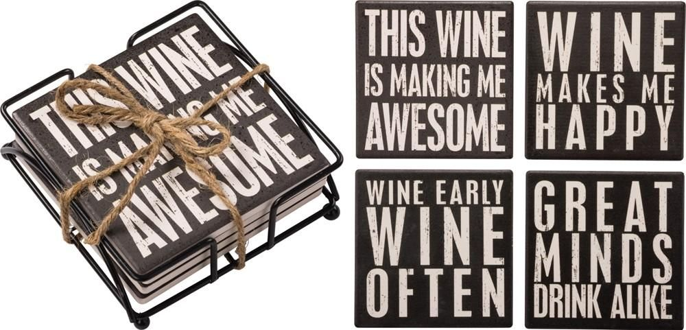 Wine Coaster Set of 4 Tile Coasters in Black and White