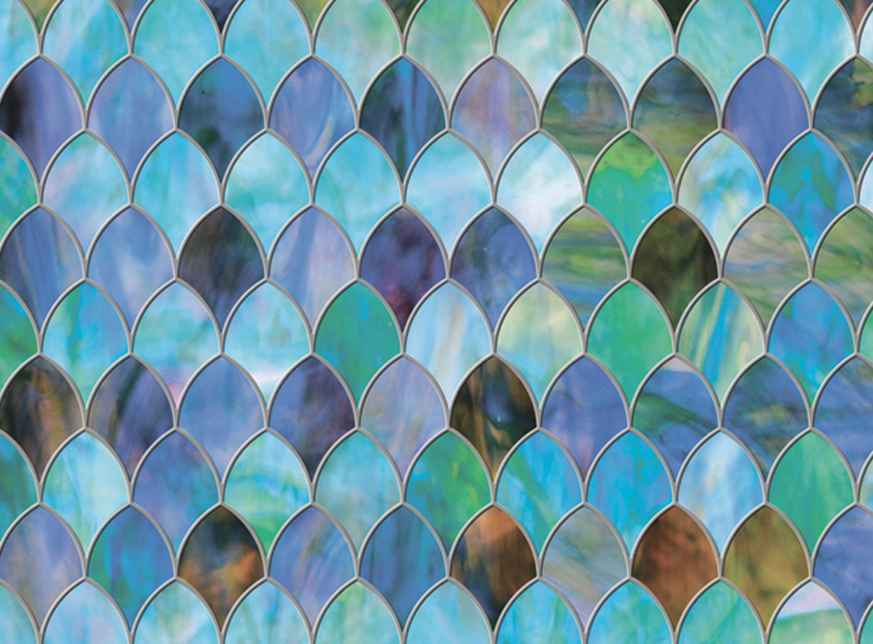 Peacock Window Film Premium Privacy Window Cling Stained Glass