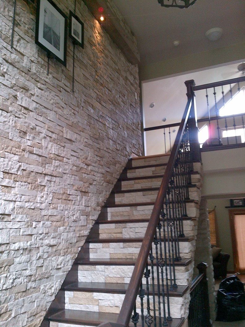 Pin By Monika Morth On Home Brick Accent Walls Staircase Remodel Stairs