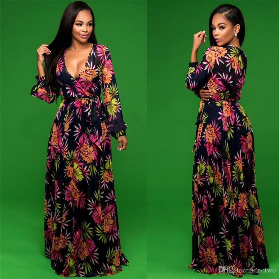 floral print maxi dresses for womens fashion v neck long