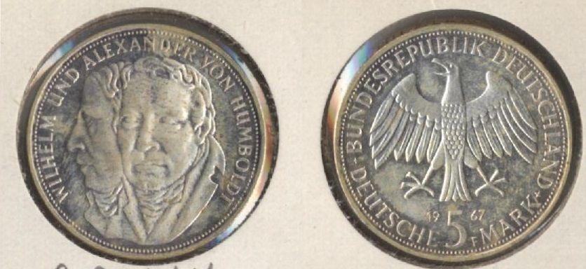 1967 F Germany 5 Mark Wilhelm And Alexander Von Humboldt Coin