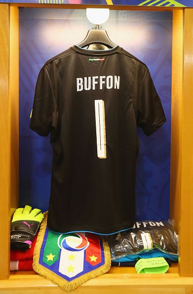 0502b8ea6  EURO2016 The shirt worn by Gianluigi Buffon of Italy is hung with the  captain s armband and the match pennant in the dressing room prior to the  UEFA EURO ...