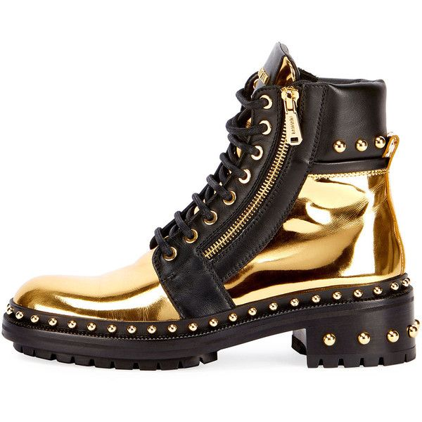 ed4d54f364 Balmain Studded Metallic Leather Combat Boot ($1,650) ❤ liked on Polyvore  featuring shoes, boots, military boots, balmain shoes, army boots, combat  boots ...