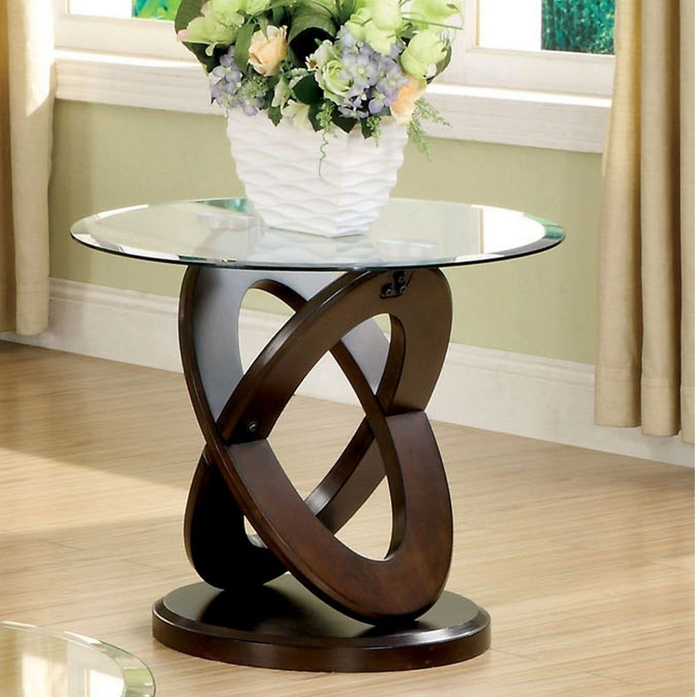 Furniture Of America Faza Modern Walnut Solid Wood Round End Table In 2020 With Images Glass Top End Tables Glass End Tables Glass Top Coffee Table