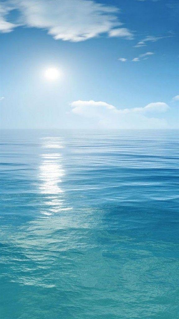 Sunny Clear Ocean Skyline Landscape IPhone 6 Wallpaper