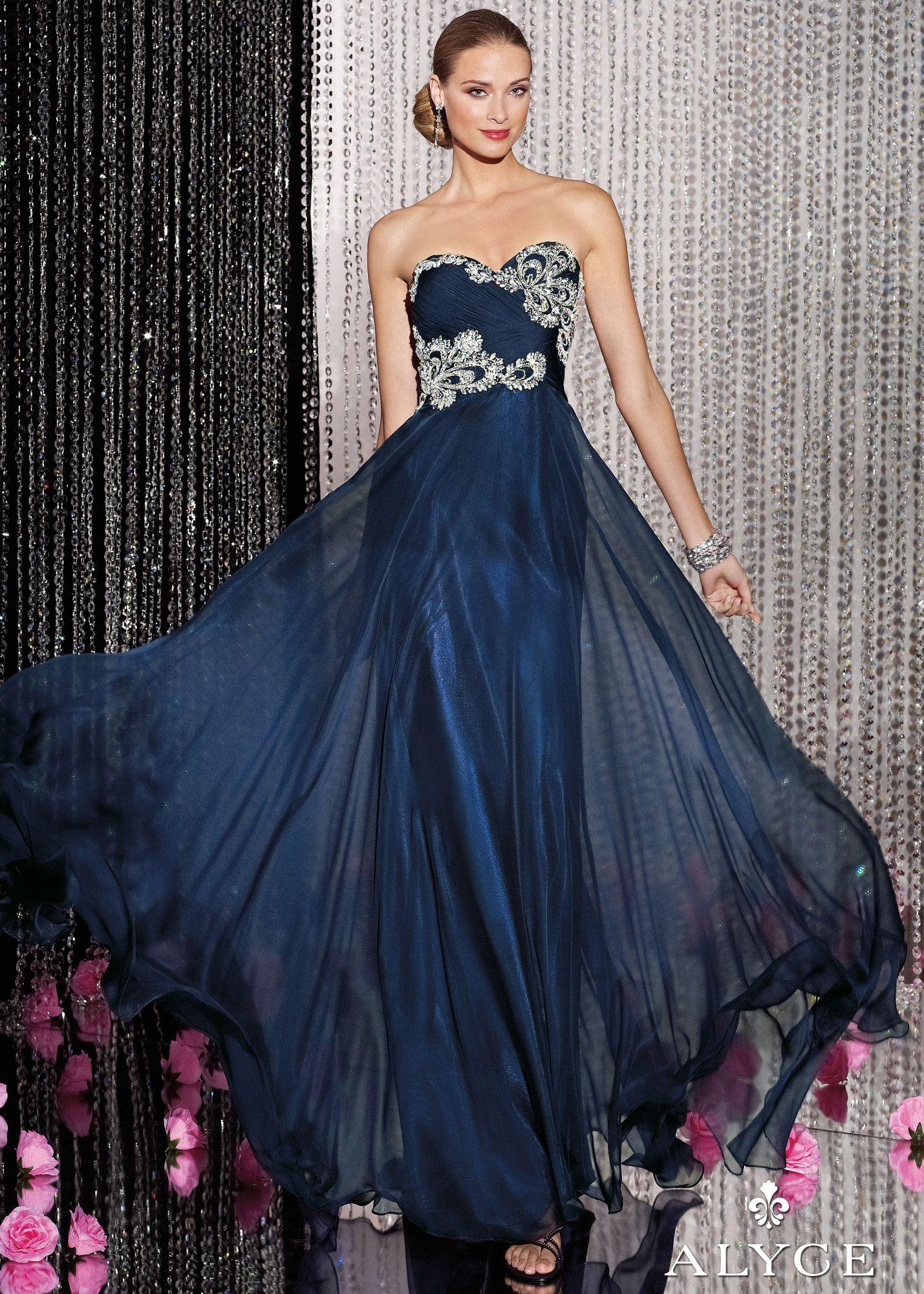Alyce Paris 5594 - Midnight Blue Strapless Chiffon Prom Dresses ...