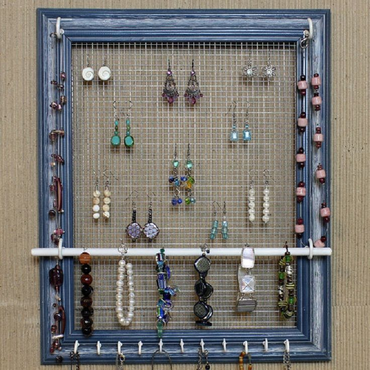 Picture Frame Jewelry Organizer -cool idea for my walk-in closet ...