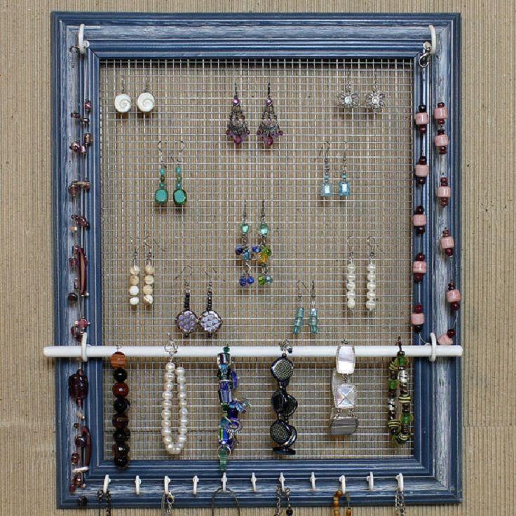 Picture Frame Jewelry Organizer | Crafty Fun | Pinterest | Frame ...