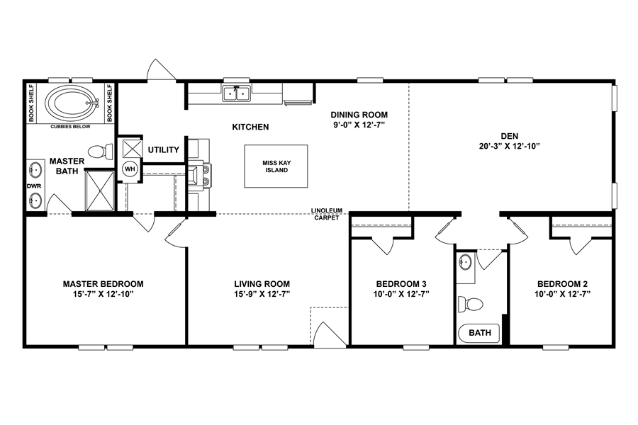 Floorplan The Berland 30scl28583ah Clayton Homes Of Mobile Al