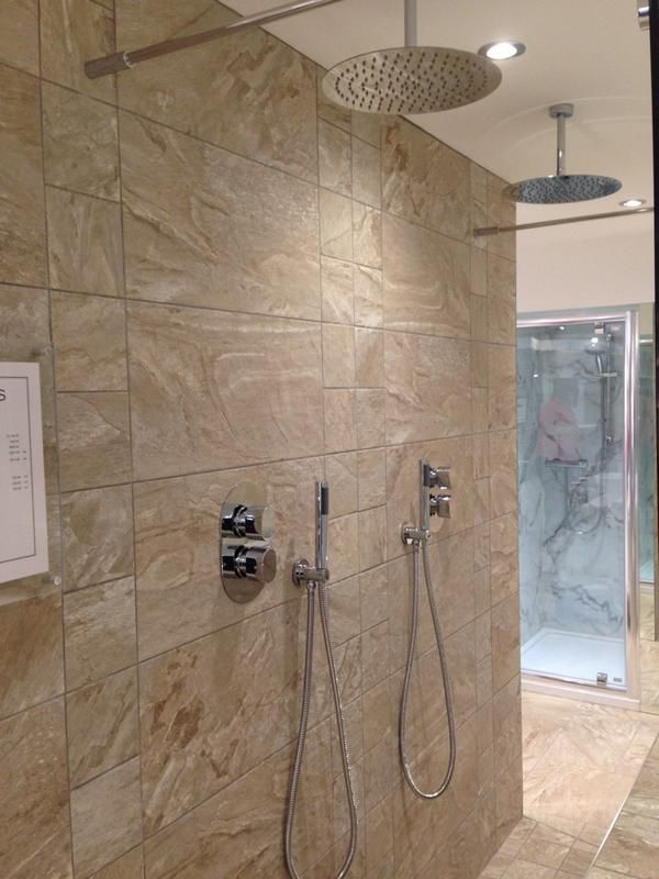 His And Hers Shower Area With Ultra Slim Aquablade Shower