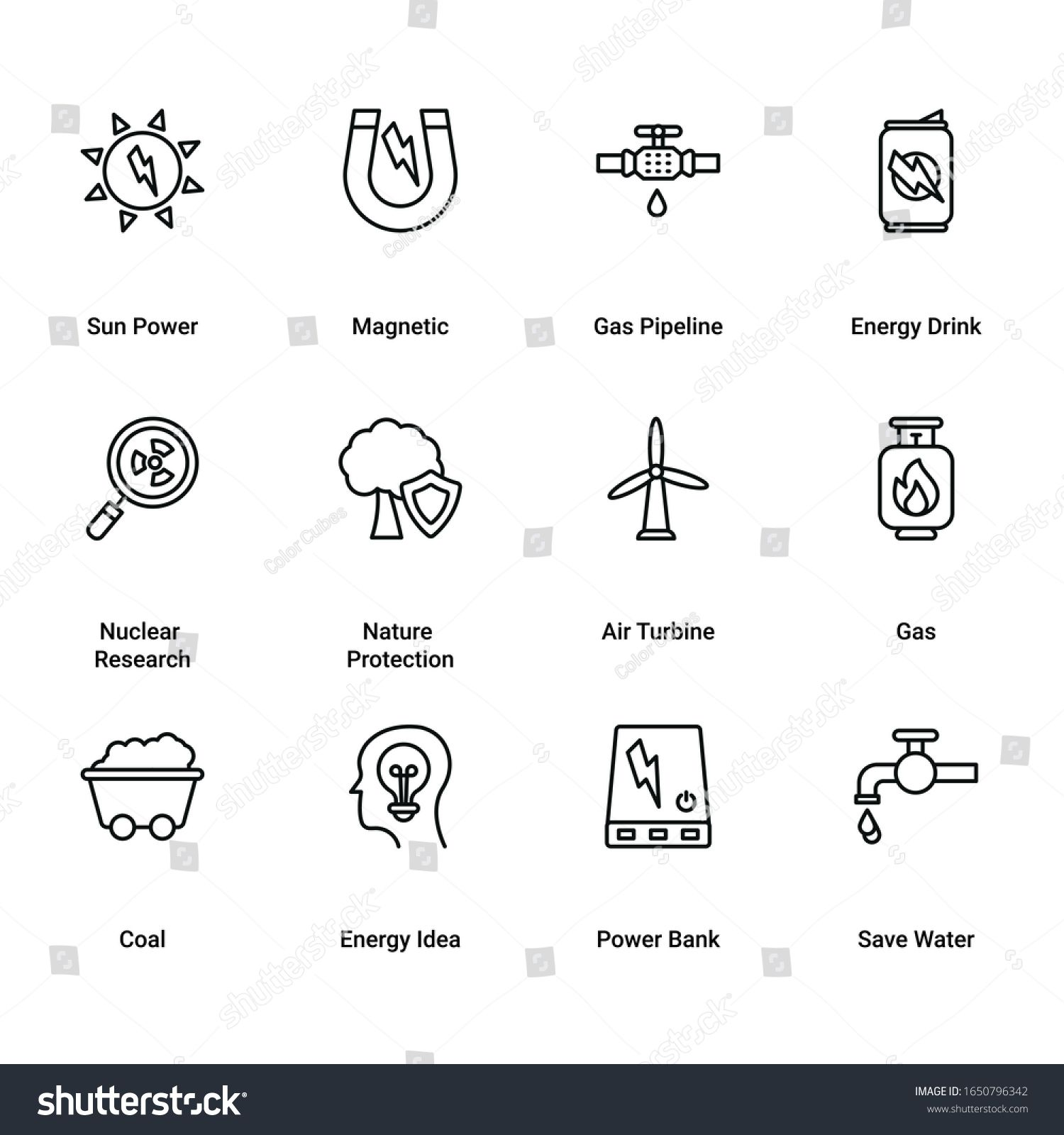 Set of Power and Energy Line Icons. Power Plant, Energy