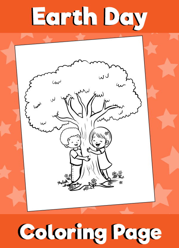 Earth Day Coloring Page Kids Hugging Tree