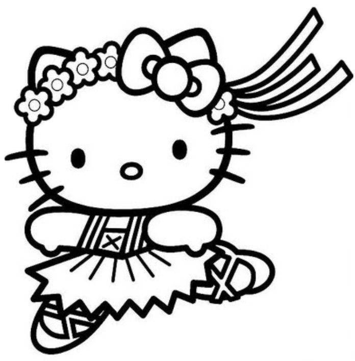 Print Hello Kitty Cute Ballerina Coloring Pages Or