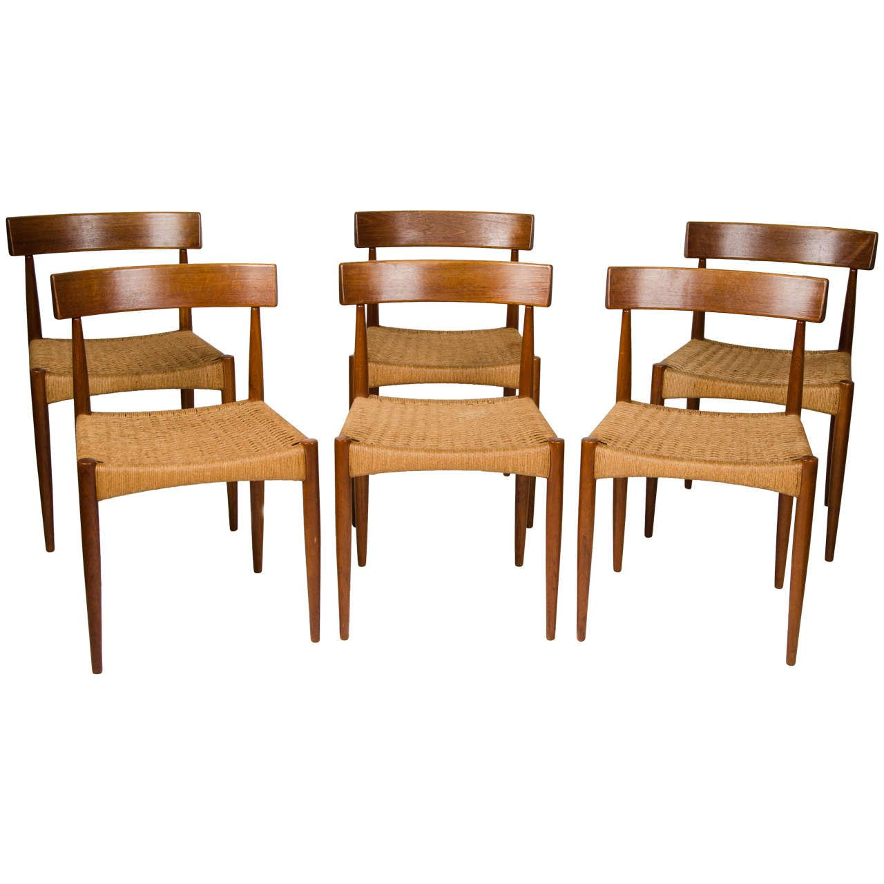 View This Item And Discover Similar Dining Room Chairs For Sale At   A Set  Of Six Danish Dining Chairs Manufactured In Teak With Woven Paper Cord  Seats.