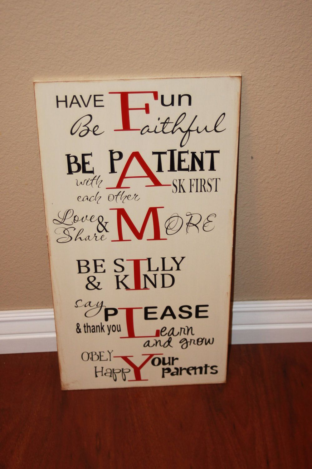 Family Rules And House Motto Board - Home Decor Wood Sign With Vinyl Lettering. 24.99