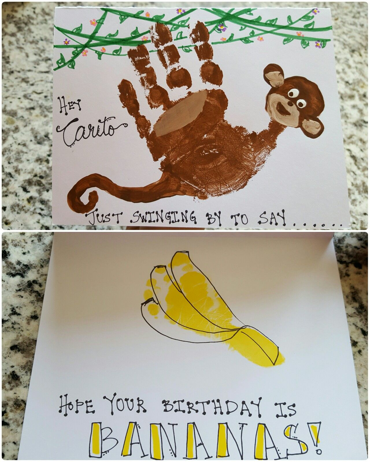 Monkey Handprint Birthday Card 3yr Old 4 Month Footprint