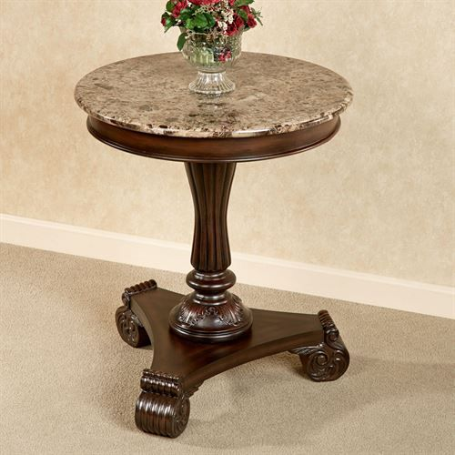 Killian Marble Top Round Table Autumn Cherry Round Foyer Table Round Accent Table Marble Accent Table