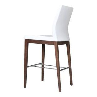 Pasha Wood Stool by sohoConcept - White Leatherette - Pasha Stool Wood is a ergonomic and stylish bar/counter stool with a comfortable uphol...