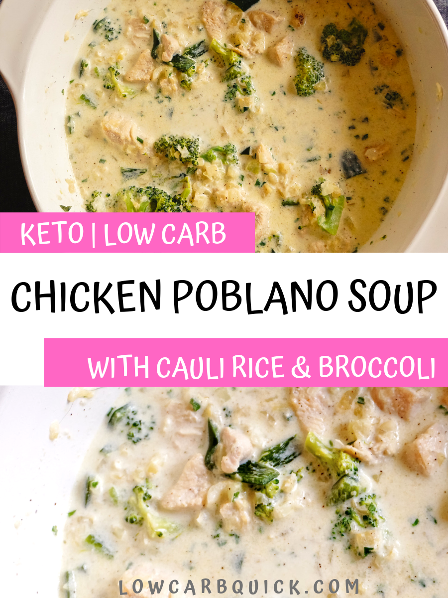 recipes dinner keto Onepot creamy chicken poblano soup with broccoli and riced cauliflower A fast and abobado keto dinner recipe So hearty and rich a true comfort food Lo...