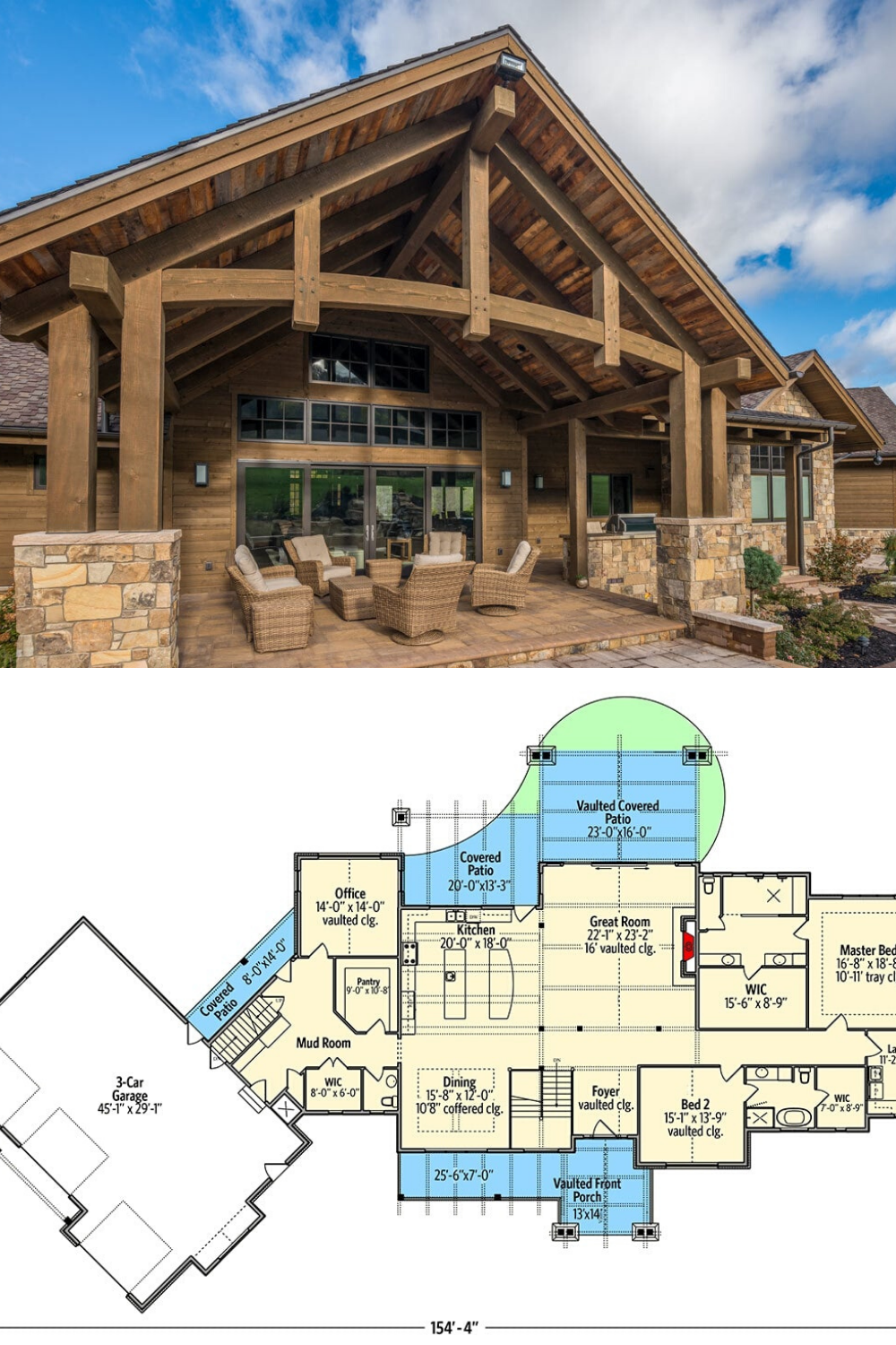 3 Bedroom Single Story Mountain Ranch Home With Lower Level Expansion Floor Plan Lake House Plans Mountain Ranch House Plans Craftsman House Plans