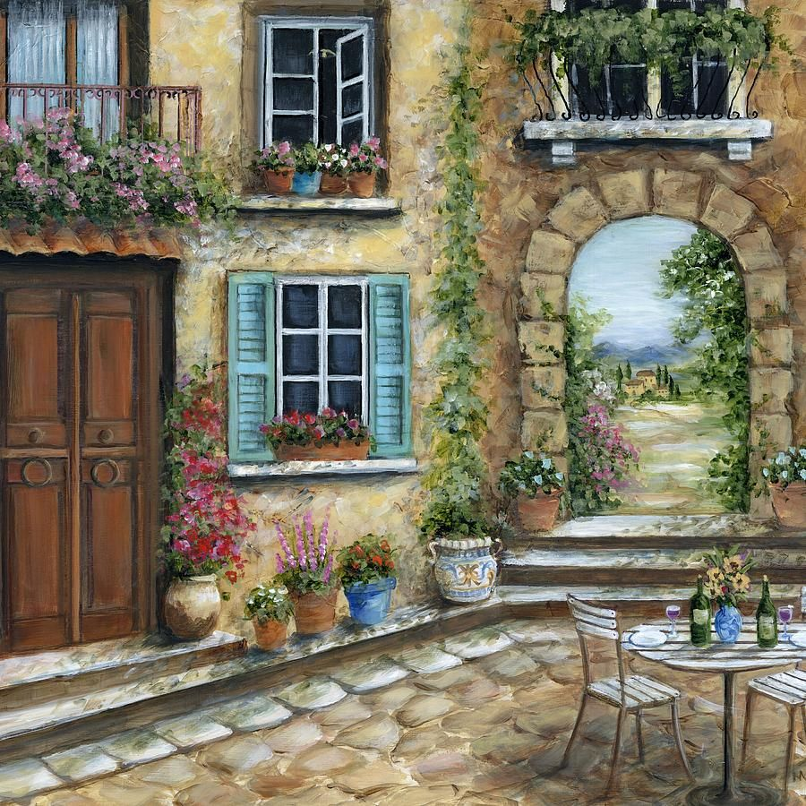 Tuscany painting romantic tuscan courtyard il by marilyn for Tuscan courtyard landscaping