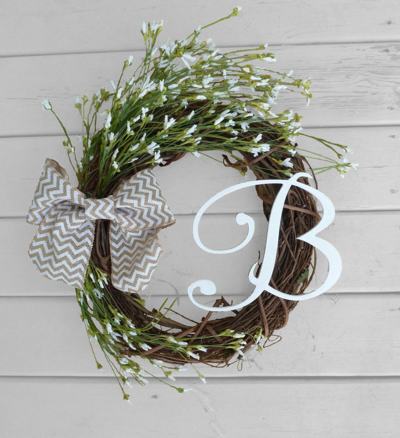 Monogrammed Grapevine Wreath - White Flowers - Chevron Bow - Rustic Decorations - Front Door Decorations - Country Chic - Mothers Day Gift by RefinedWreath on Etsy https://www.etsy.com/listing/222700137/monogrammed-grapevine-wreath-white