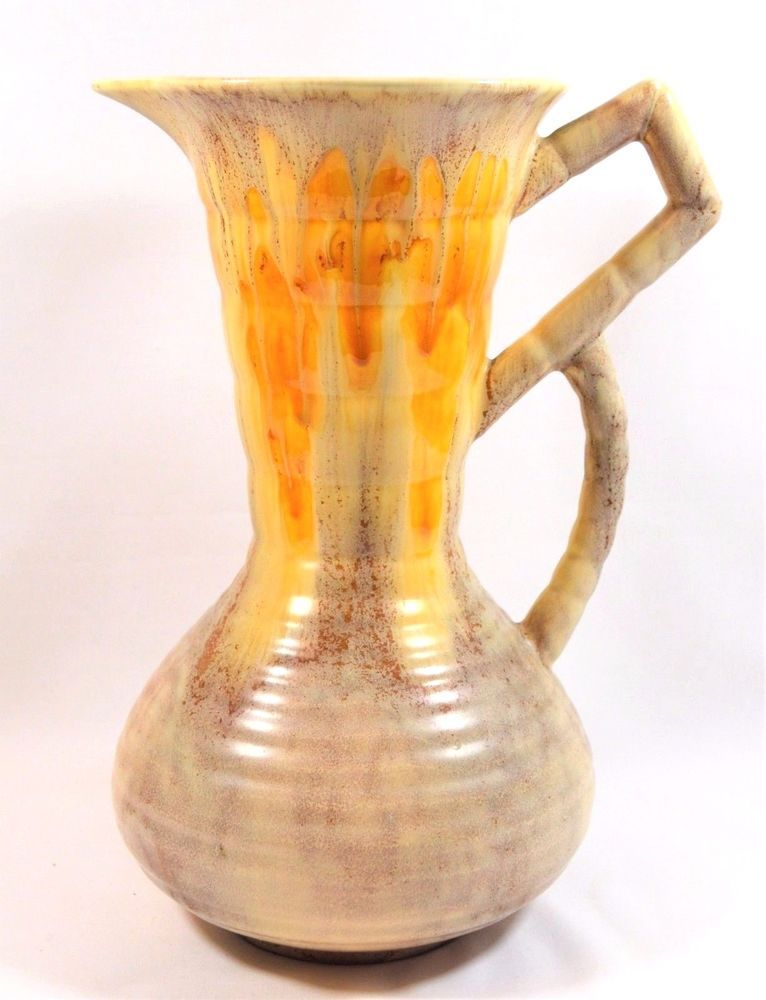 Tall Sylvac Vase Falcon Ware Golden Drip Effect Glaze Effect Art
