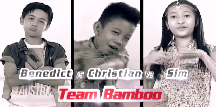 "Benedict Inciong, Christian Pasno and Ashley Simone Teves from Team Bamboo performed ""Fireflies"" by Owl City on The Voice Kids Philippines Season 2 'Battle Rounds,' July 25, 2015."