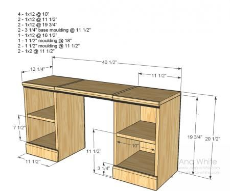 Pic On Ana White plans for a little vanity desk Would be perfect for the