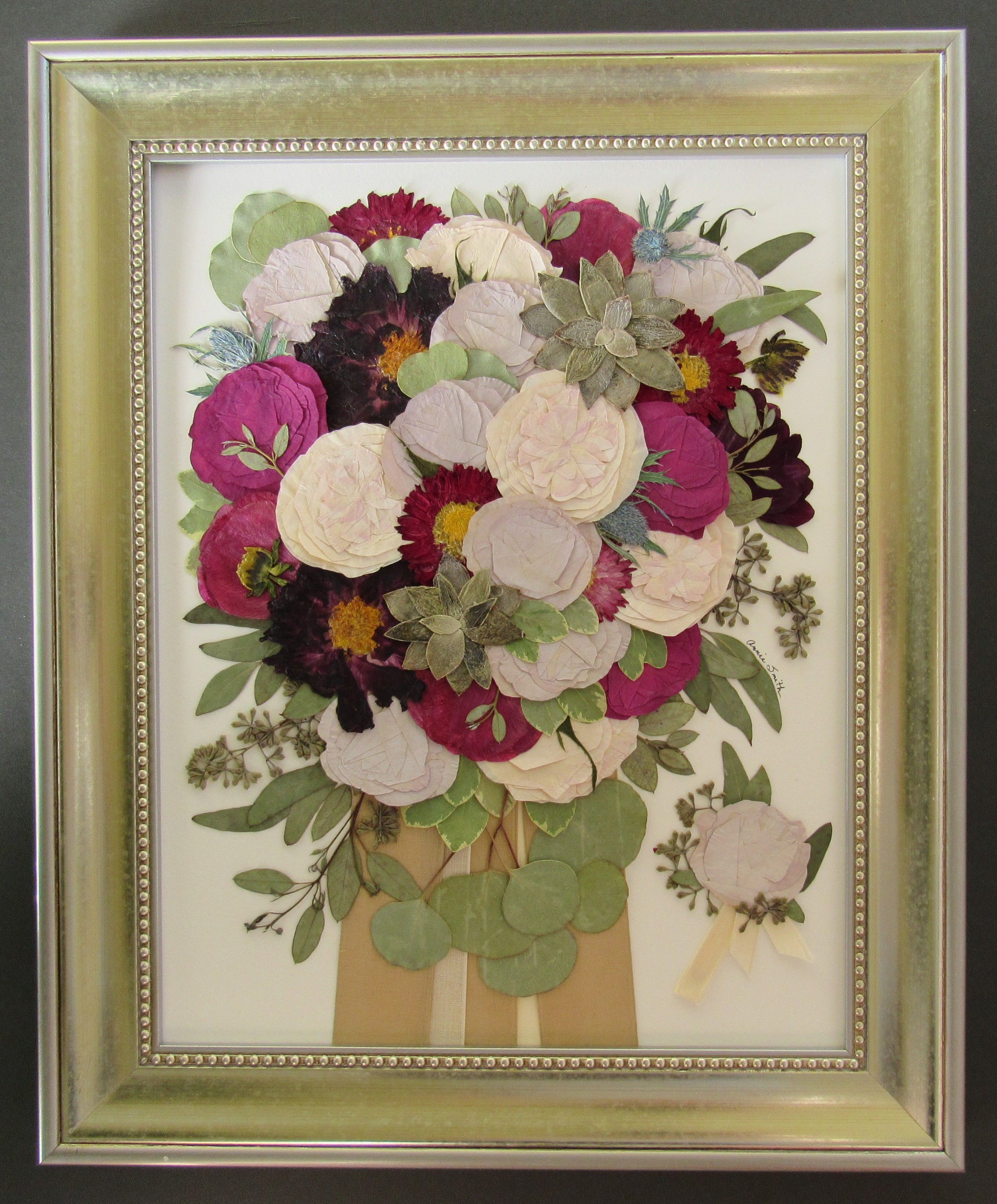 Pressed Wedding Flowers: Bridal Bouquet. Pressed Flower Art. Flowers Are Pressed